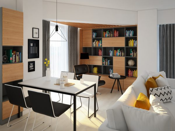 design interior apartament pitesti biblioteca