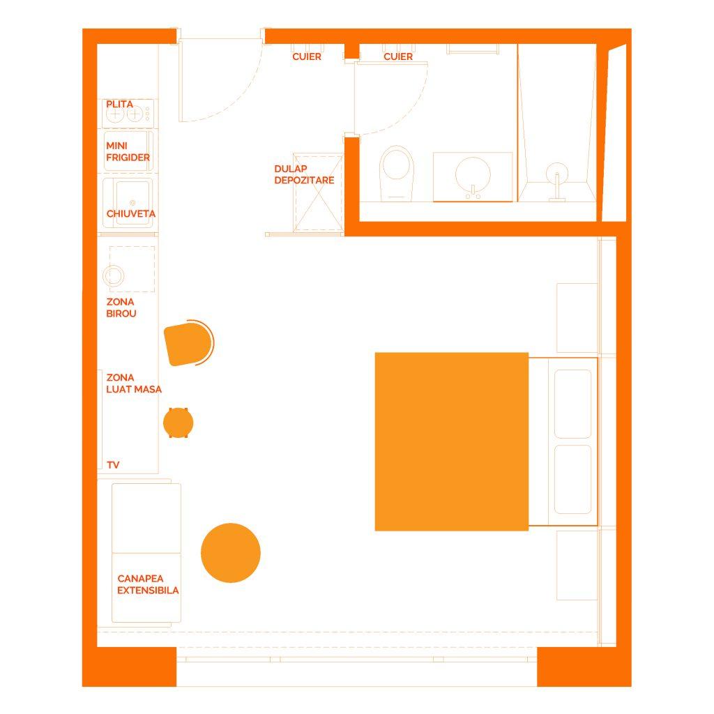 Camera Aparthotel design industrial - Plan amenajare